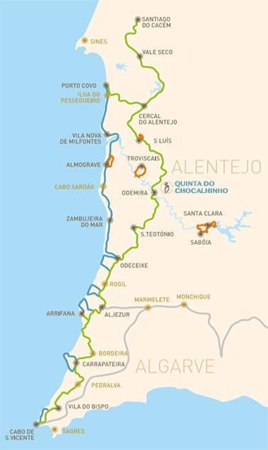 Mapa da Rota Vicentina em 2015